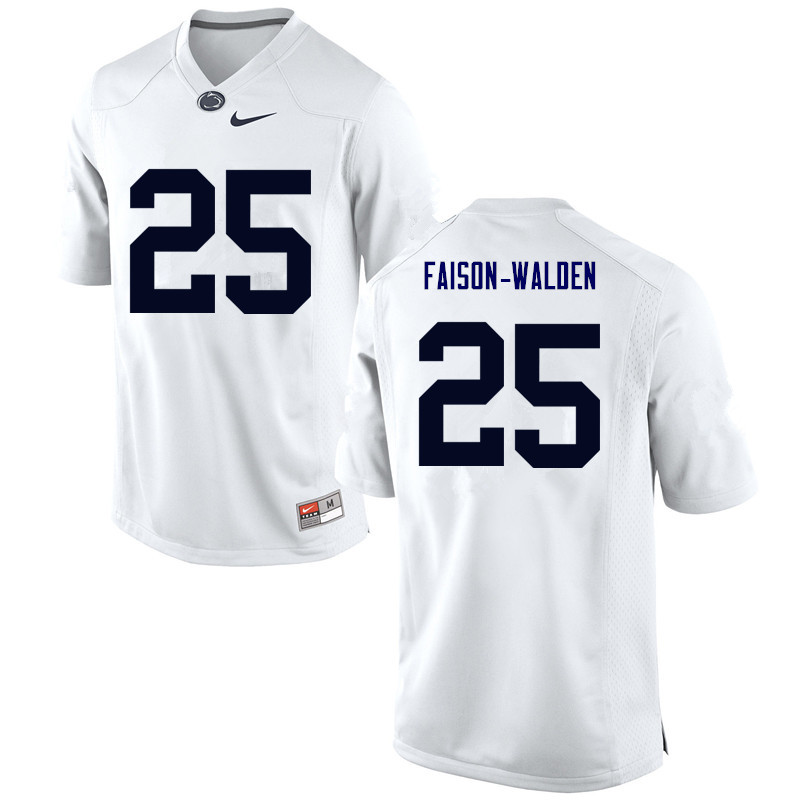 Men Penn State Nittany Lions #25 Brelin Faison-Walden College Football Jerseys-White